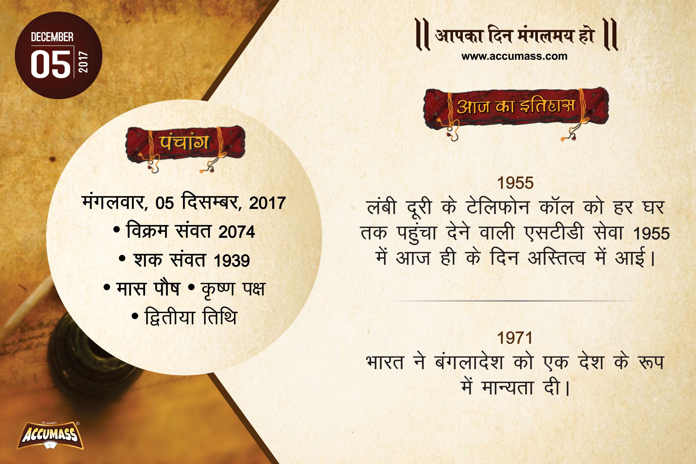 Today's History, 5 December 2017 – Aaj Ka Itihas Aur Panchang In Hindi