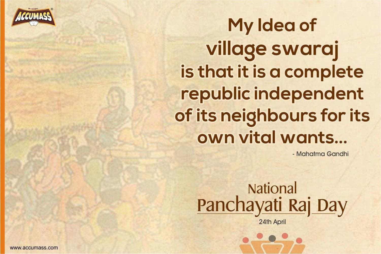 24 April 2018, National Panchyati Raj Day, Mahatma Gandhi, Accumass